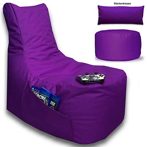 Sitzsack 3er Set Big Gamer Sessel mit EPS Sytropor Füllung - Rückenkissen - Hocker - In & Outdoor Sitzsäcke Sessel Kissen Sofa Sitzkissen Bodenkissen (Big Gamer Sitzsack 3er Set Lila)