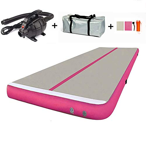 MELCHEF 10ft/13ft/16ft/20ft Air Track Tumble Mat Inflatable Gymnastics Mat Tumble Track Air Track Mat Air Track Floor Mats with Electric Air Pump Home Use/Training (Pink-Big, 16ftx3.3ftx4in(5x1x0.1m))