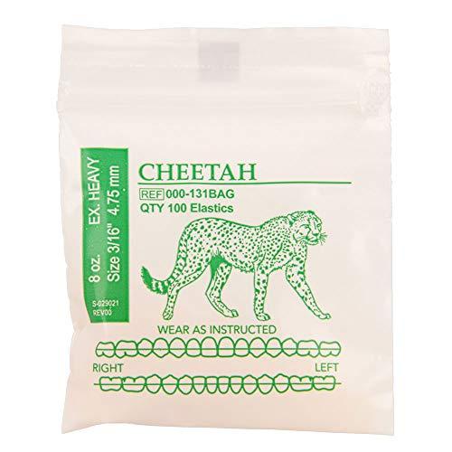 American Orthodontics Elastics Wildlife Cheetah   Extra Heavy, 8 Oz, 3/16' Size, 100 Packs Per Box, 10,000 Elastics   Made in The USA   Precision Cutting, Top Quality Latex Tubing