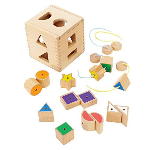 【ウッディプッディ直営限定品】型はめブロックセット ひも通し 知育 玩具 学習 ベビー 赤ちゃん 子供 男の子 女の子 木製 天然木 木のおもちゃ 木製玩具 かたはめ 積み木 ウッディプッディ WOODYPUDDY toytree トイツリー