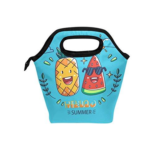 FolLPPLY Hello Summer Cute Ananas Wassermelon Lunchbag Kühltasche Isolierte Lunchbox Handtasche Tragetasche mit Reißverschluss für Herren Damen Erwachsene Kinder Jungen Mädchen
