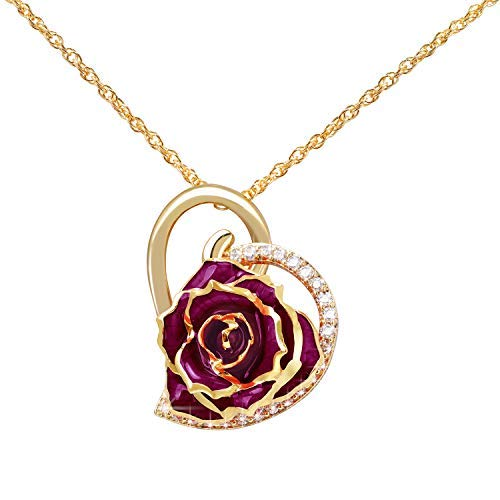 ZJchao Collana placcata oro 24K, con ciondolo a forma di cuore e rosa, tempestato da strass, da donna, per Natale festa della mamma Oro giallo