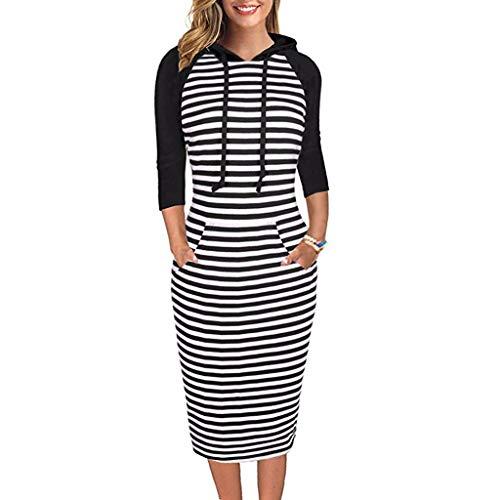 TEELONG Kleider Damen Langarm gestreiften Pullover mit Kapuze Kleid Casual Sweatshirt mit Tasche Ballkleid Partykleid Cocktailkleid(XXL, Schwarz)