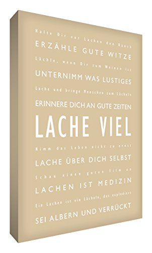 Little Helper LM1624-01G Feel Good Art Tableau sur toile avec citations sur le rire en langue allemande Typographie moderne Beige 60 x 40 cm