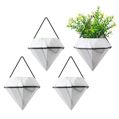 T4U Diamant Muur Planter Geometrische Wandvazen Marmer Wit, Keramisch Gemonteerd Succulente Luchtplant Bloempotten Cactus Faux Planten Containers Wit Modern Indoor Decor voor Huis en Kantoor