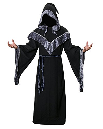 Nofonda Disfraz de Mago Monje Capa con Capucha Negra de Mgico Sacerdote Traje de Bruja Hechiceros Ropa Medieval de Adultos Hombre para Fiesta de Halloween Carnaval (L)