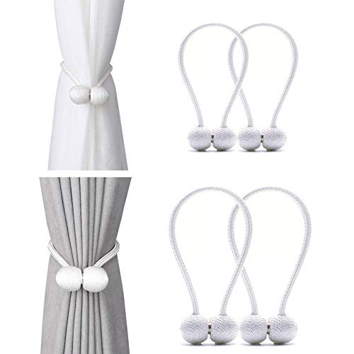 DEZENE Magnetic Curtain Tiebacks,The Most Convenient Drape Tie Backs,Decorative Rope Holdback Holder for Window Sheer and Blackout Drapries,2 Pack(12 Inch Long) and 2 Pack(16 Inch Long),White