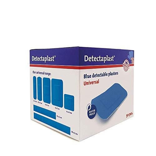 Detectaplast Pflaster wasserfest Universal, blaue Wundpflaster für den Umgang mit Lebensmitteln, detektierbare Pflaster für Erste Hilfe Sets in der Gastronomie, 38 x 72 mm, 50 Stück