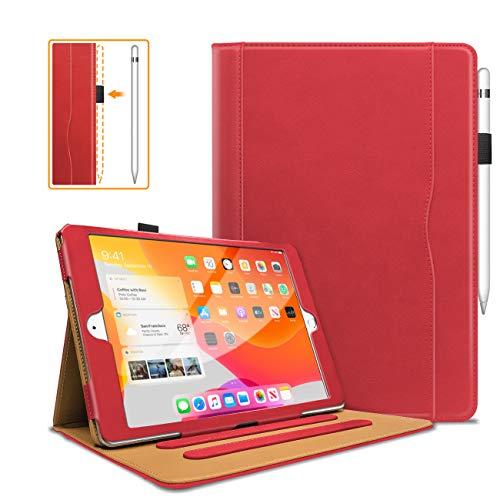 DAORANGE Funda para iPad 10.2 2020/2019 (iPad 8./7.ª generación), piel sintética de alta calidad, con función de encendido y apagado automático, multiángulo de visión y ranuras para documentos (rojo)