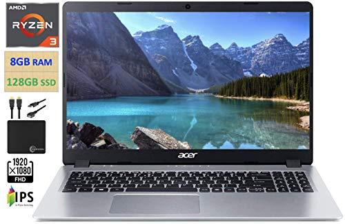 2021 Premium Acer Aspire 5 15.6' FHD 1080P Laptop Computer AMD Ryzen 3 3200U Dual Core Up to 3.5GHz (Beats i5-7200U), 8GB RAM 128GB SSD, Backlit Keyboard, WiFi, Webcam Windows 10 S, w/Marxsol Cables