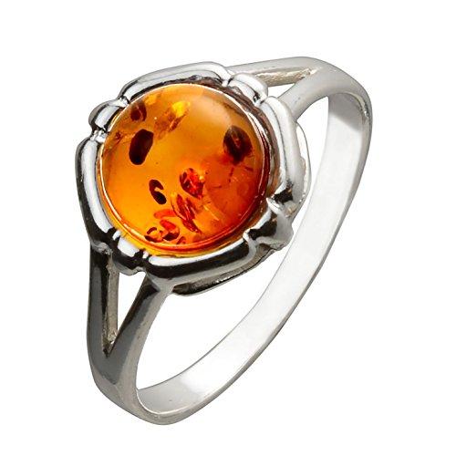 HolidayGiftShops Sterling Silber und Baltic Honey Amber Ring Clara - Größe 9