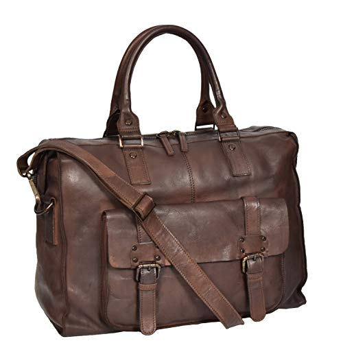 Real Leather Stylish Italian Travel Holdall Bag Brown DRLB128