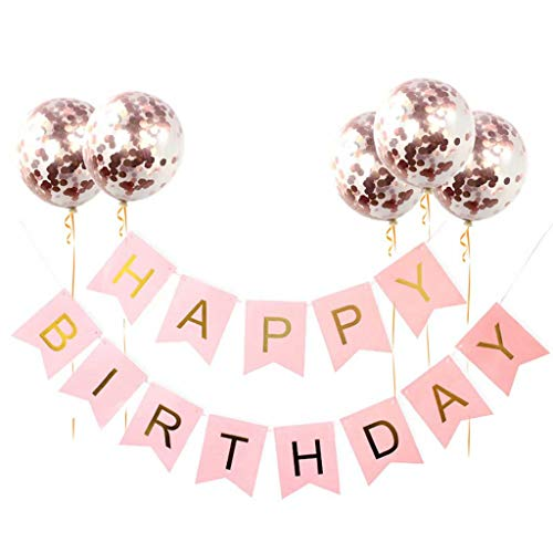 ZDNB Happy Birthday Banner Sign with Ballons, Hanging Bunting Garland for Boys and Girls Party Decorations Supplies,Rose gold,Happy birthday set