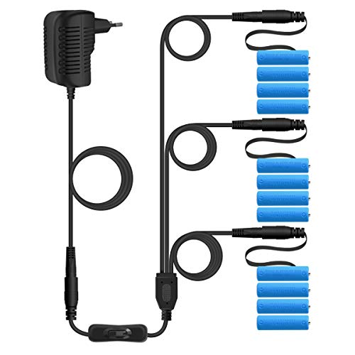 AIEVE Adaptador 3 en 1 de 6 V, batería de repuesto para 3 x 4 pilas AA para cadena de luces (con interruptor), color negro