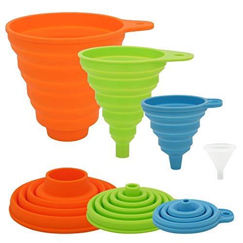 Embudo de cocina de 4 tamaños diferentes, embudos plegables de silicona para botellas de llenado, embudo de enlatado de alta calidad/embudo de alimentos