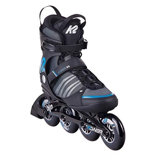 K2 Skates Herren Inline Skate Power 90 — black - grey - blue — EU: 48 (UK: 12 / US: 13) — 30E0882
