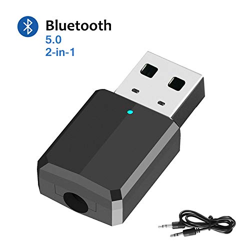 DLseego Adaptador Bluetooth V5.0 USB Dongle, Transmisor Receptor Bluetooth Adaptador para...