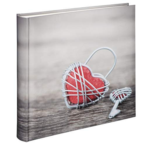 Hama Jumbo Fotoalbum, Hochzeitsalbum zum einkleben mit 100 weißen Seiten für bis zu 400 Fotos im Format 10x15, Album zum selbstgestalten, 30x30 cm, XXL Fotobuch mit Herz Motiv, Vintage Design