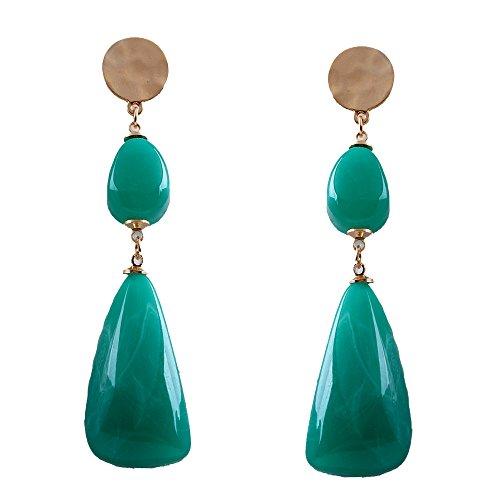 YAZILIND de moda de joyería de alta calidad de aleación de agua de forma de gota pendientes de resina para mujeres niñas 5 colores disponibles (verde)
