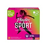 Playtex Sport Tampons Ultra Absorbency 1, White, Unscented, 36 Count, (Pack of 1)