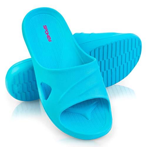 Spokey Damen Flip Flops Badelatschen Bequeme Duschschuhe | Badeschuhe Schwimmbadschuhe Strandschuhe Rosa Blau Türkis (40 EU, Türkis)