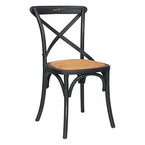Totò Piccinni Sedia in Legno Design Cross, Seduta Intreccio Rattan, Alta QUALITA' (Nero Antico, 1)