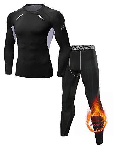 Sykooria Thermounterwäsche Herren Funktionswäsche Atmungsaktive Thermo-Unterwäsche Set Skiunterwäsche Thermounterhose Shorts für Sport Winter