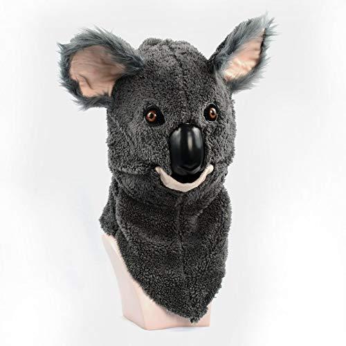 LULI Nuevo diseño Furred Hecho a mano Personalizado Desfile en movimiento Mascarilla bucal Koala Simulación Fauna Halloween Máscara Animal Cabeza Disfraz Máscara espeluznante realista