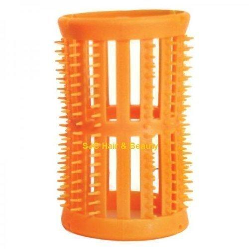 Skelox - Pack de 12 Rouleaux en Plastique pour Cheveux - Taille Large - 40 mm - Orange