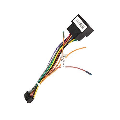 Cable Adaptador de 16 Pines a ISO para Android Radio de Coche, Enchufe Estándar ISO con Líneas de Control del Volante y Línea de Control Inverso