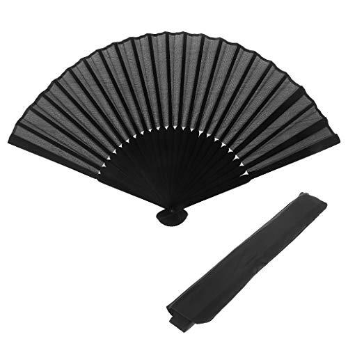 Yoging - Ventilador de mano retro de estilo chino con ventilador plegable para bailes, suministros de boda, color negro