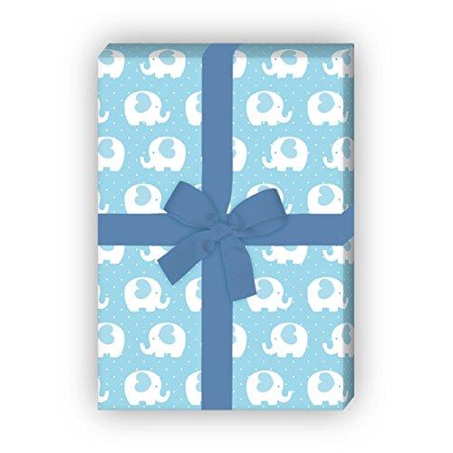 Kartenkaufrausch hart olifanten baby cadeaupapier set voor doop, geboorte voor leuke cadeauverpakking, 4 vellen, 32 x 48 cm decorpapier, patroonpapier om in te pakken, knutselen, scrapbooking