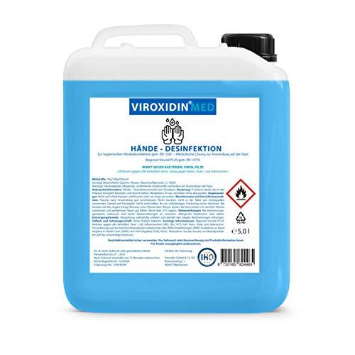 Viroxidin Med Desinfektionsmittel für Hände 5l - Zur hygienischen Händedesinfektion - Begrenzt Viruzid PLUS gem. EN 14776 - Hygienische Handdesinfektion gegen Bakterien, Viren & Pilze
