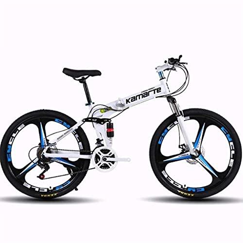 Mountain Bike per mountain bike, mountain bike, da uomo, da donna, pieghevole, con doppio freno a disco e doppia sospensione, telaio in acciaio al carbonio, 21 velocità, 24 velocità, 27 velocità