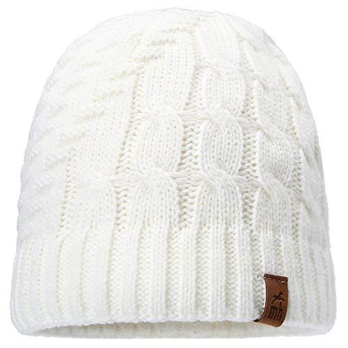 Einfarbige Jacquardmütze für Damen   Strickmütze   Wintermütze   Damenmütze   Flechtmuster   Fleecefütterung   Creme