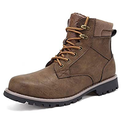 EYUSHIJIA Men's Hiking Shoes Water Resistant Ankle Boot Winter Snow Boots Fur-Lining Brown 10