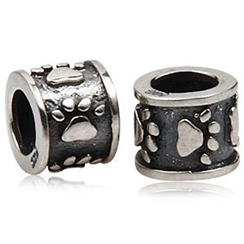Andante-Stones - Original, Cuenta de Plata de Ley 925 sólida, Plata Sterling, Huellas de Patas, Elemento Bola para Cuentas European Beads + Saco de Organza