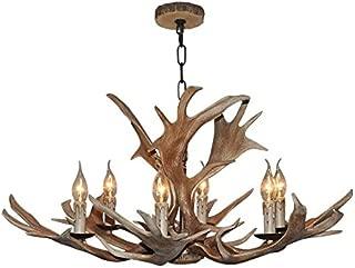 EFFORTINC Vintage Style Resin Deer Horn Antler Chandelier,6Lights(Bulbs Not Included)