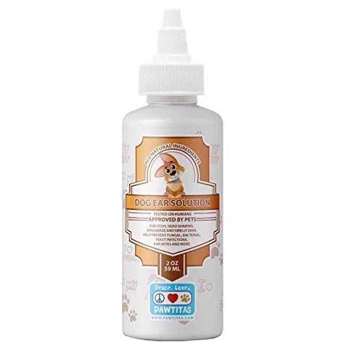 Pawtitas Limpiador de oidos para Perros formulado para el rapido Alivio de Malos olores, infeccion y Limpieza de oidos | Limpiador de oido para Perros y Cachorros - 59 ml