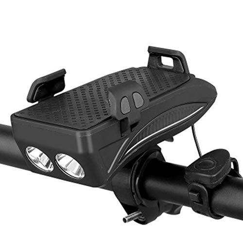 4 in 1 Fahrrad-Telefon-Halter MIT Taschenlampe/Horn/Powerbank, Verstellbarer Lenker Telefon Halterung für 4-6,3 Zoll Smartphones (Schwarz 4000mAh)