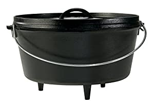 "8 QT. DEEP CAMP DUTCH OVEN. The Lodge portable ""camp stove"" is the pot that does it all. The flanged lid holds hot coals and inverts for use as a griddle. The integral legs allow the oven to sit perfectly over the campfire. PRE-SEASONED COOKWARE. A g..."