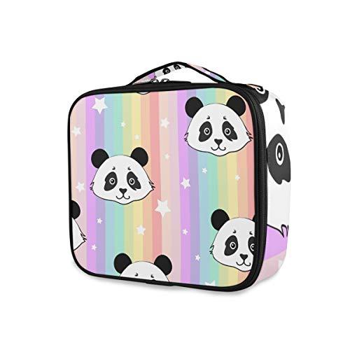 Outils Cosmétique Train Case Maquillage Sac Abstrait Rainbow Stripe Mignon Panda Seamless Pattern Portable Voyage Trousse De Toilette Filles De Stockage