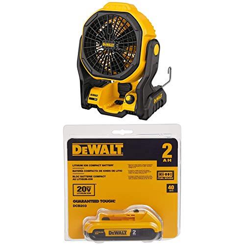 "DEWALT DCE511B 11"" Corded/Cordless Jobsite Fan and DCB203 20V Max 2.0AH Compact XR Li-Ion Battery Pack"
