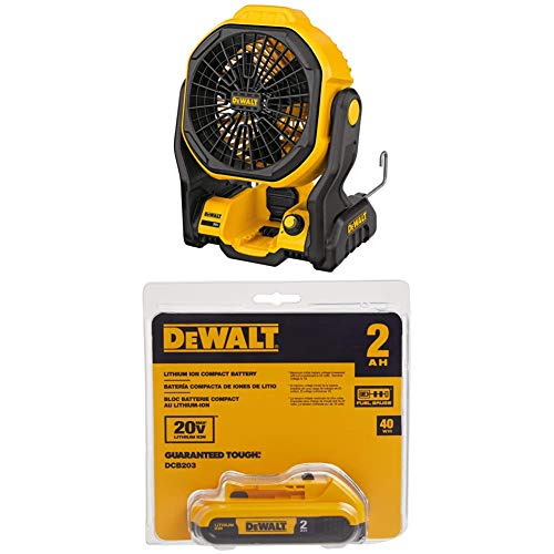 DEWALT DCE511B 11' Corded/Cordless Jobsite Fan and DCB203 20V Max 2.0AH Compact XR Li-Ion Battery Pack