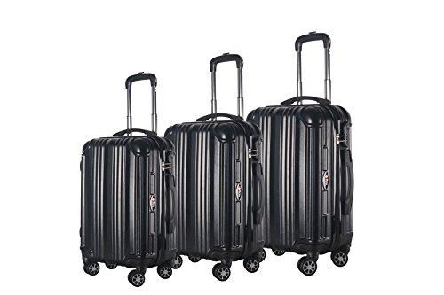 3-Piece Hardside Spinner Expandable Suitcase Set #951 (Black)