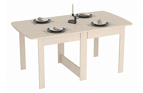 Rodnik Esstisch ausklappbar - Eiche Weiß- Holzoptik - Klapptisch - Raumwunder - Funktionstisch - Tisch klappbar