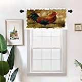 Batmerry Vintage Art Kitchen Valances Half Window Curtain, Rooster Vintage Torn Painting Art Kitchen Valances for Windows Bedroom Heat Insulated Valance for Decor Reducing The Light 52x18 Inch