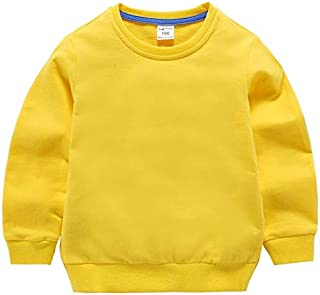 QGT Children Wear Autumn Solid Color Bottoming Children's Sweatshirt Pullover, Height:80cm(White) (Color : Yellow)