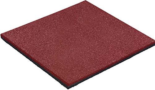 Fallschutzmatte 50x50 Stärke 25mm rot - PREMIUM Anti-Rutsch Fallschutz-Platten nach EN 1177 für Schaukelgestell, Kinder Spielturm & Spielgeräte im Außenbereich