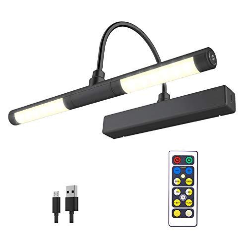 HONWELL Drahtlose Bilderlampe mit Fernbedienung, Drehbarer LED-Lichtkopf mit Timer, Wiederaufladbares Mallicht Dimmbare Wandleuchte zum Malen von Bildern, Grafikdisplay,Schwarz